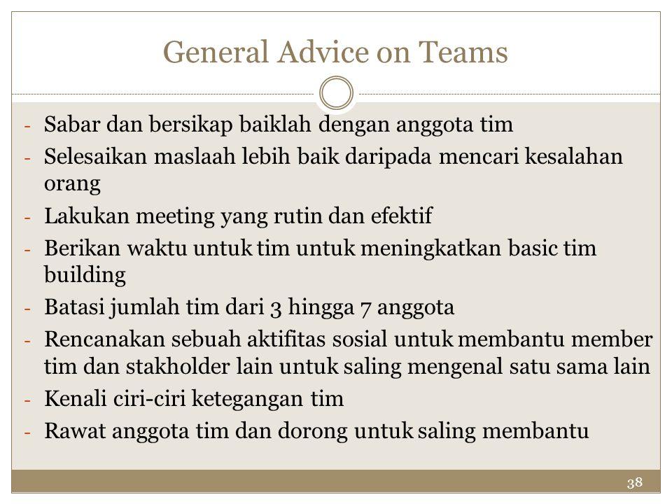 38 General Advice on Teams - Sabar dan bersikap baiklah dengan anggota tim - Selesaikan maslaah lebih baik daripada mencari kesalahan orang - Lakukan