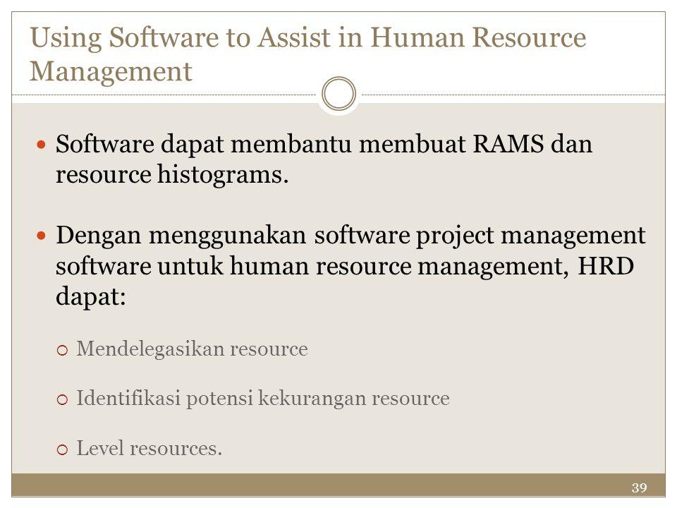 39 Using Software to Assist in Human Resource Management Software dapat membantu membuat RAMS dan resource histograms. Dengan menggunakan software pro