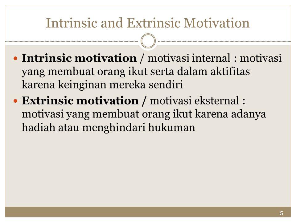 5 Intrinsic and Extrinsic Motivation Intrinsic motivation / motivasi internal : motivasi yang membuat orang ikut serta dalam aktifitas karena keingina