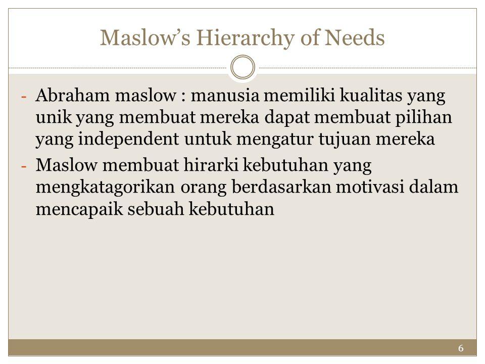 6 Maslow's Hierarchy of Needs - Abraham maslow : manusia memiliki kualitas yang unik yang membuat mereka dapat membuat pilihan yang independent untuk