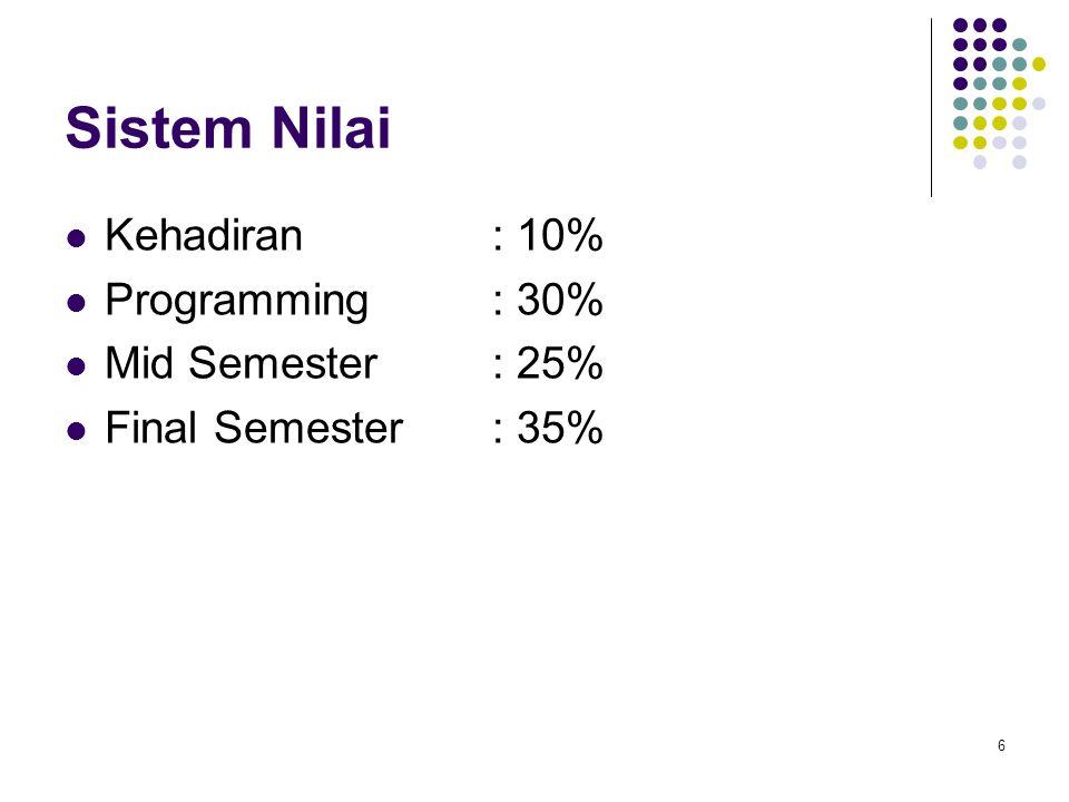 6 Sistem Nilai Kehadiran: 10% Programming: 30% Mid Semester: 25% Final Semester: 35%