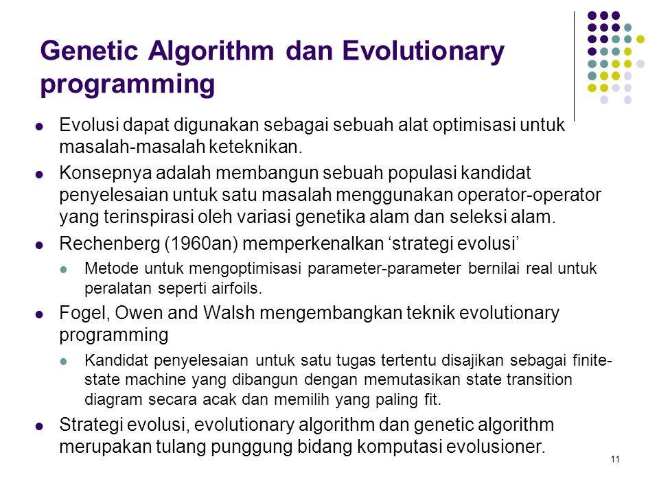Genetic Algorithm dan Evolutionary programming Evolusi dapat digunakan sebagai sebuah alat optimisasi untuk masalah-masalah keteknikan. Konsepnya adal