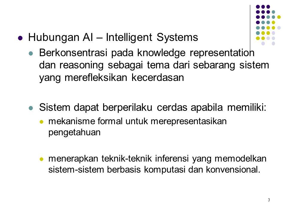 Hubungan AI – Intelligent Systems Berkonsentrasi pada knowledge representation dan reasoning sebagai tema dari sebarang sistem yang merefleksikan kecerdasan Sistem dapat berperilaku cerdas apabila memiliki: mekanisme formal untuk merepresentasikan pengetahuan menerapkan teknik-teknik inferensi yang memodelkan sistem-sistem berbasis komputasi dan konvensional.