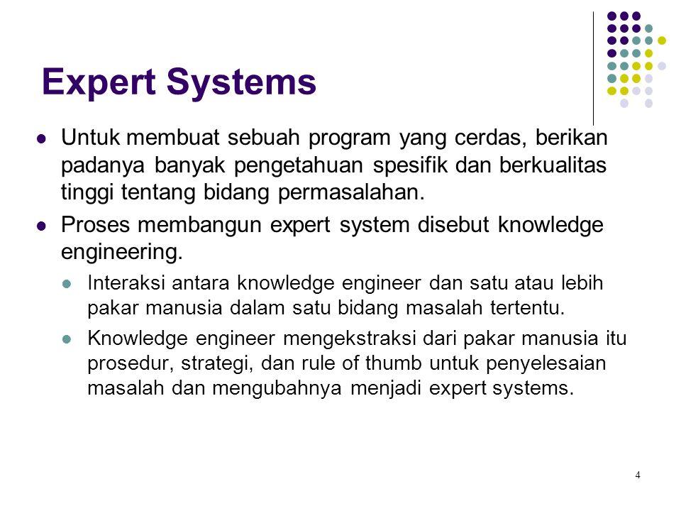 Expert Systems Untuk membuat sebuah program yang cerdas, berikan padanya banyak pengetahuan spesifik dan berkualitas tinggi tentang bidang permasalaha