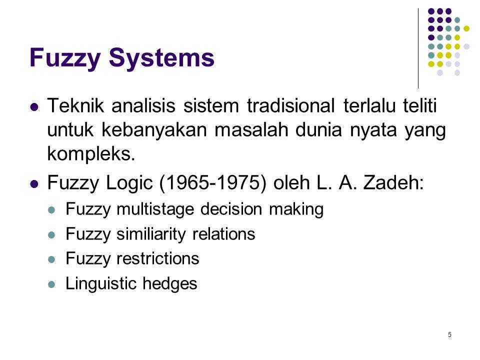Fuzzy Systems Teknik analisis sistem tradisional terlalu teliti untuk kebanyakan masalah dunia nyata yang kompleks. Fuzzy Logic (1965-1975) oleh L. A.