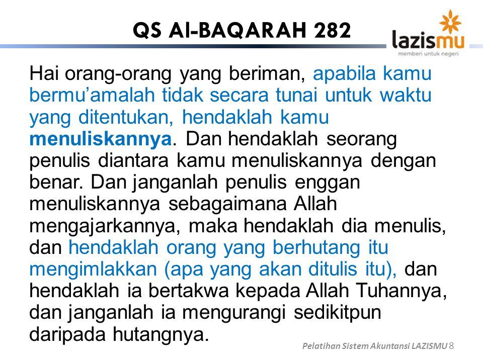 QS Al-BAQARAH 282 Hai orang-orang yang beriman, apabila kamu bermu'amalah tidak secara tunai untuk waktu yang ditentukan, hendaklah kamu menuliskannya