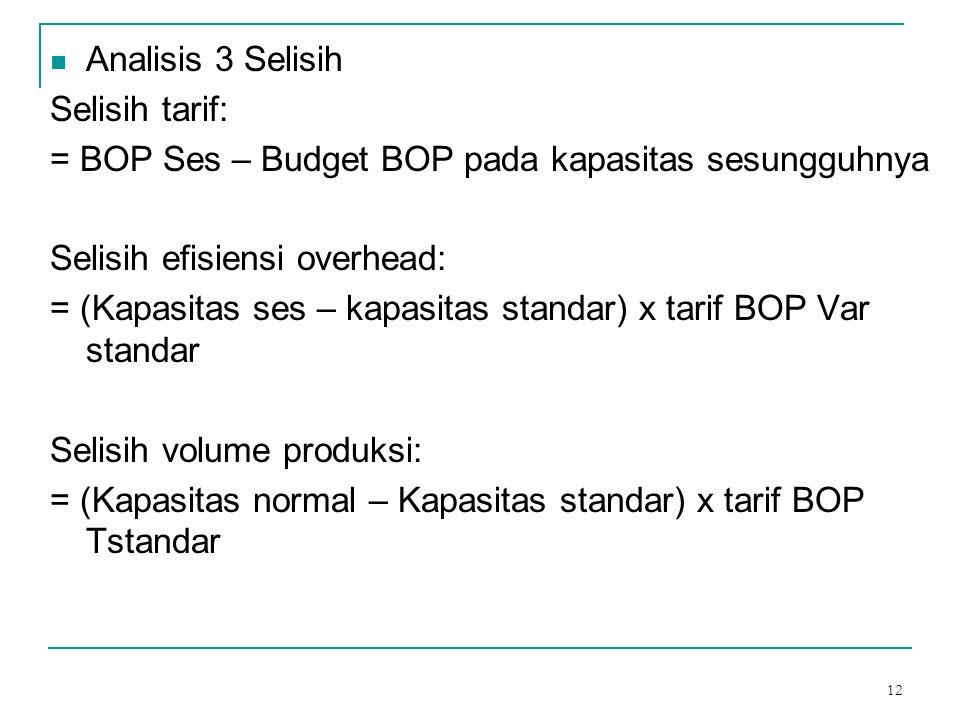 12 Analisis 3 Selisih Selisih tarif: = BOP Ses – Budget BOP pada kapasitas sesungguhnya Selisih efisiensi overhead: = (Kapasitas ses – kapasitas stand