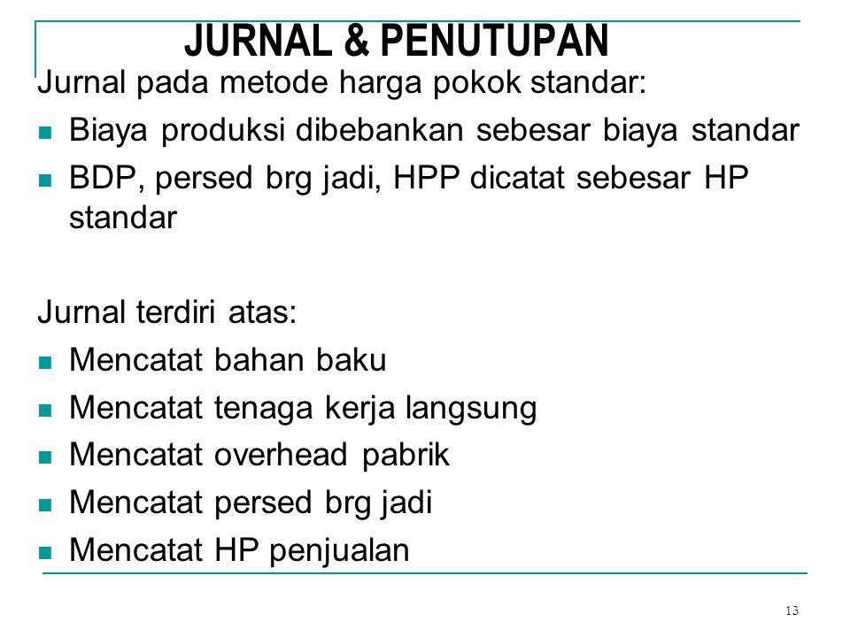 13 JURNAL & PENUTUPAN Jurnal pada metode harga pokok standar: Biaya produksi dibebankan sebesar biaya standar BDP, persed brg jadi, HPP dicatat sebesa