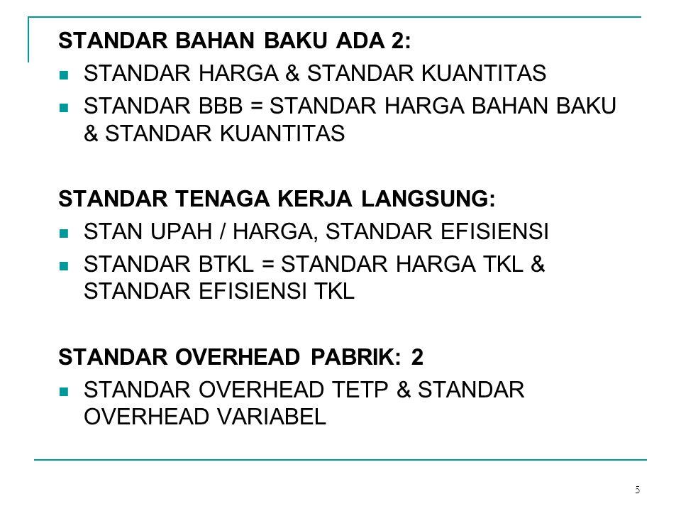 5 STANDAR BAHAN BAKU ADA 2: STANDAR HARGA & STANDAR KUANTITAS STANDAR BBB = STANDAR HARGA BAHAN BAKU & STANDAR KUANTITAS STANDAR TENAGA KERJA LANGSUNG