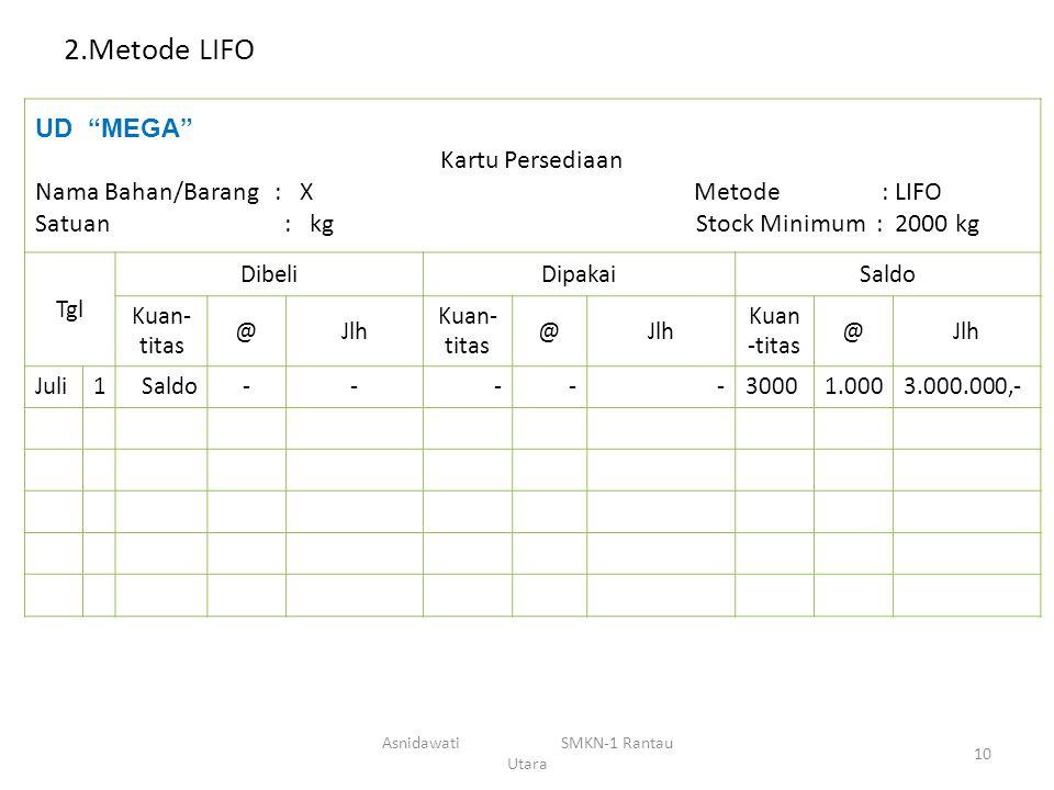 """2.Metode LIFO UD """"MEGA"""" Kartu Persediaan Nama Bahan/Barang : X Metode : LIFO Satuan : kg Stock Minimum : 2000 kg Tgl DibeliDipakaiSaldo Kuan- titas @J"""