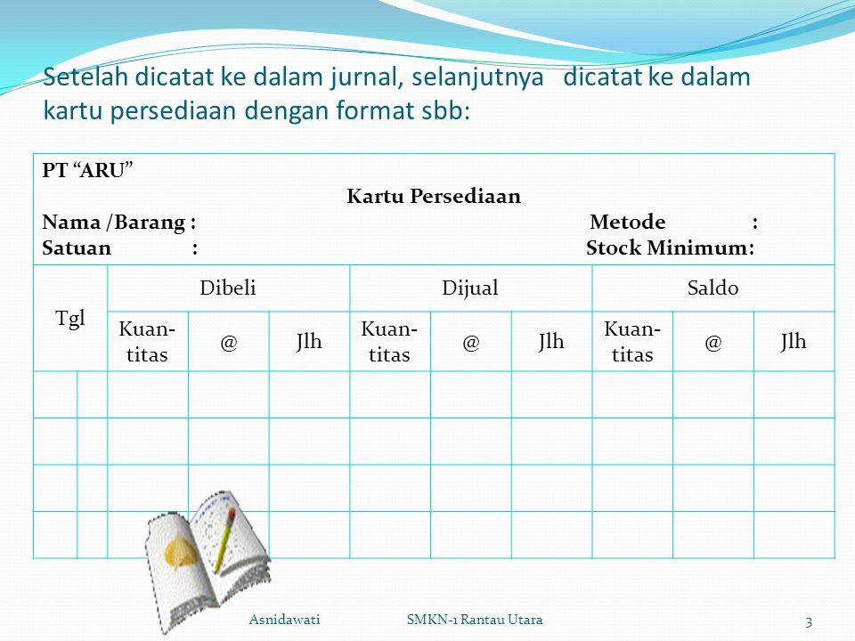 """Setelah dicatat ke dalam jurnal, selanjutnya dicatat ke dalam kartu persediaan dengan format sbb: PT """"ARU"""" Kartu Persediaan Nama /Barang : Metode : Sa"""