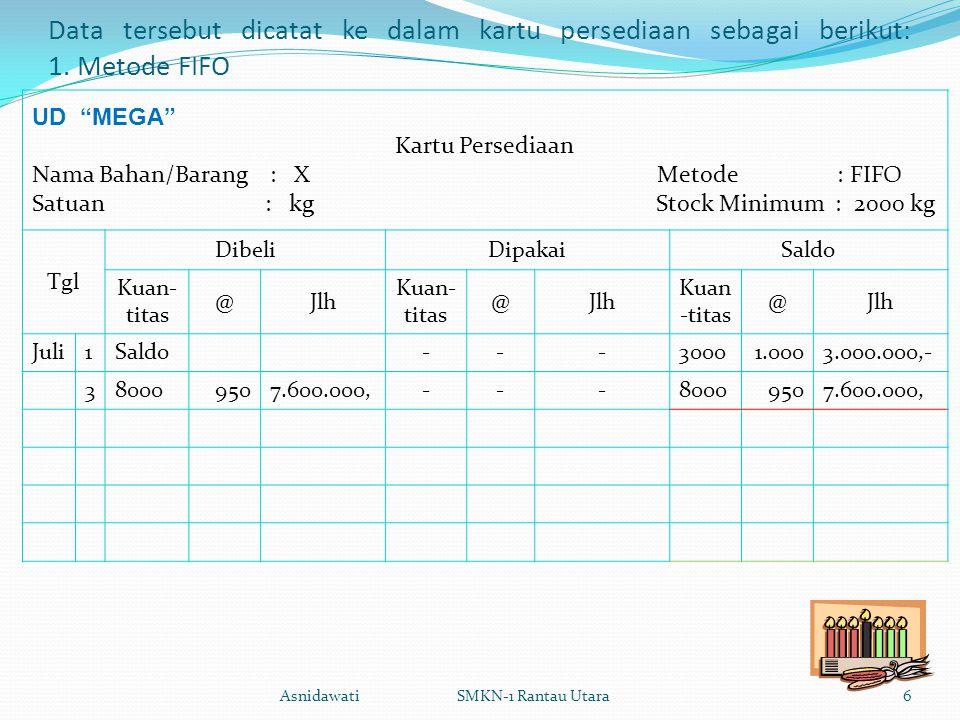 Data tersebut dicatat ke dalam kartu persediaan sebagai berikut: 1.