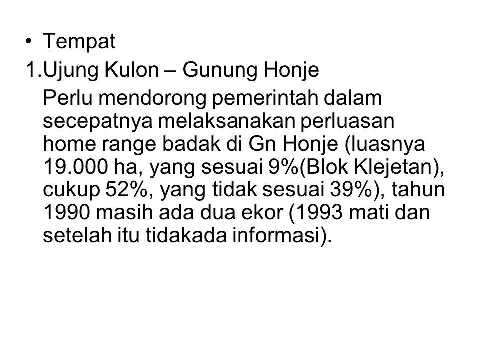Tempat 1.Ujung Kulon – Gunung Honje Perlu mendorong pemerintah dalam secepatnya melaksanakan perluasan home range badak di Gn Honje (luasnya 19.000 ha