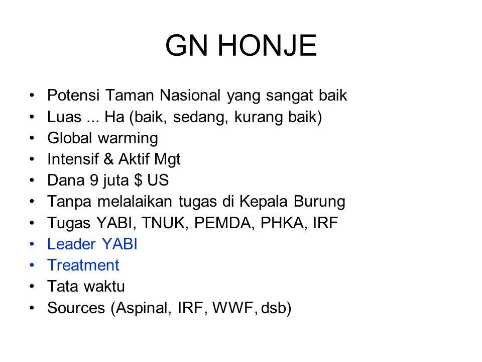 GN HONJE Potensi Taman Nasional yang sangat baik Luas... Ha (baik, sedang, kurang baik) Global warming Intensif & Aktif Mgt Dana 9 juta $ US Tanpa mel