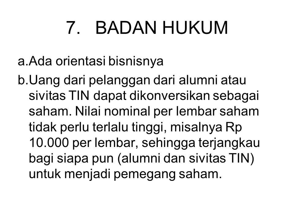 7.BADAN HUKUM a.Ada orientasi bisnisnya b.Uang dari pelanggan dari alumni atau sivitas TIN dapat dikonversikan sebagai saham.