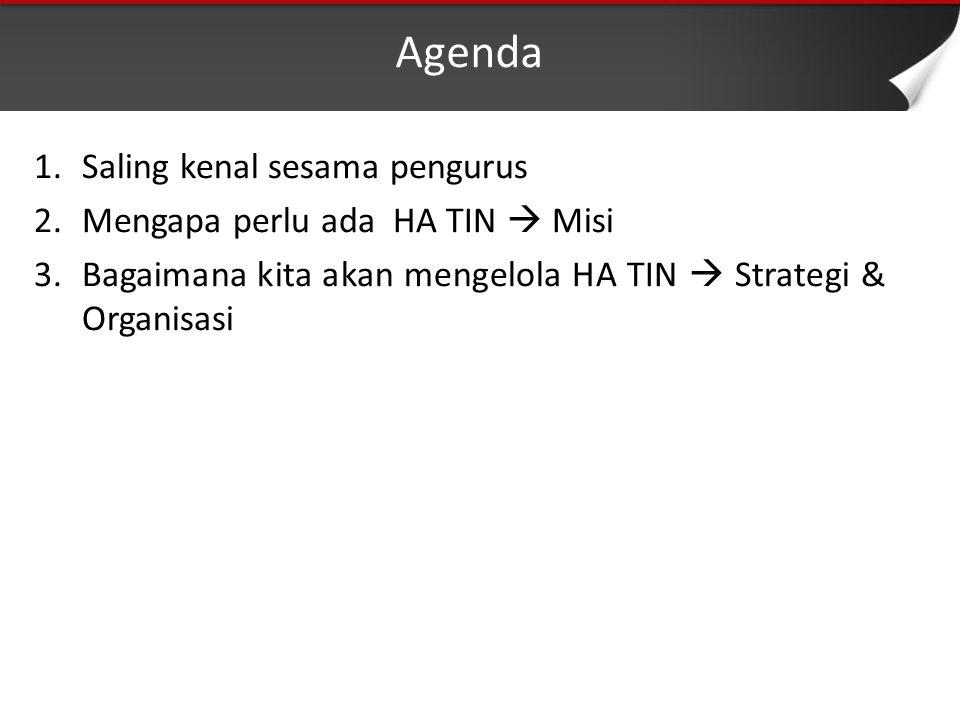 Agenda 1.Saling kenal sesama pengurus 2.Mengapa perlu ada HA TIN  Misi 3.Bagaimana kita akan mengelola HA TIN  Strategi & Organisasi