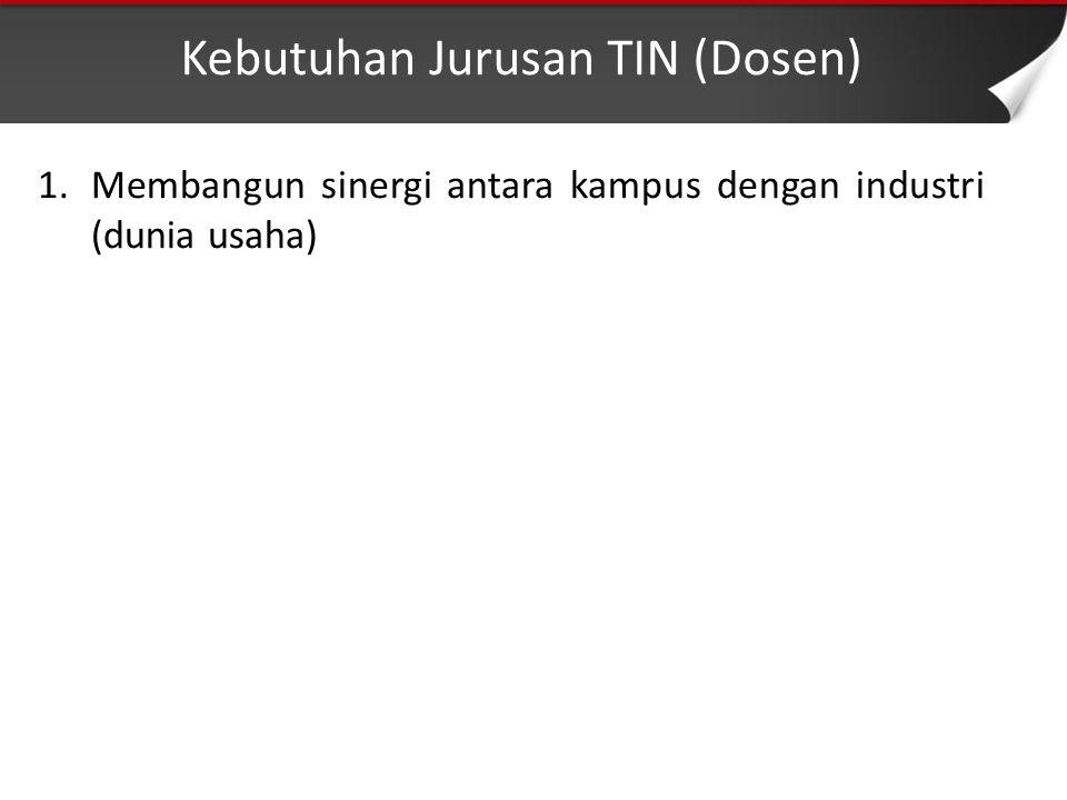 Kebutuhan Jurusan TIN (Dosen) 1.Membangun sinergi antara kampus dengan industri (dunia usaha)