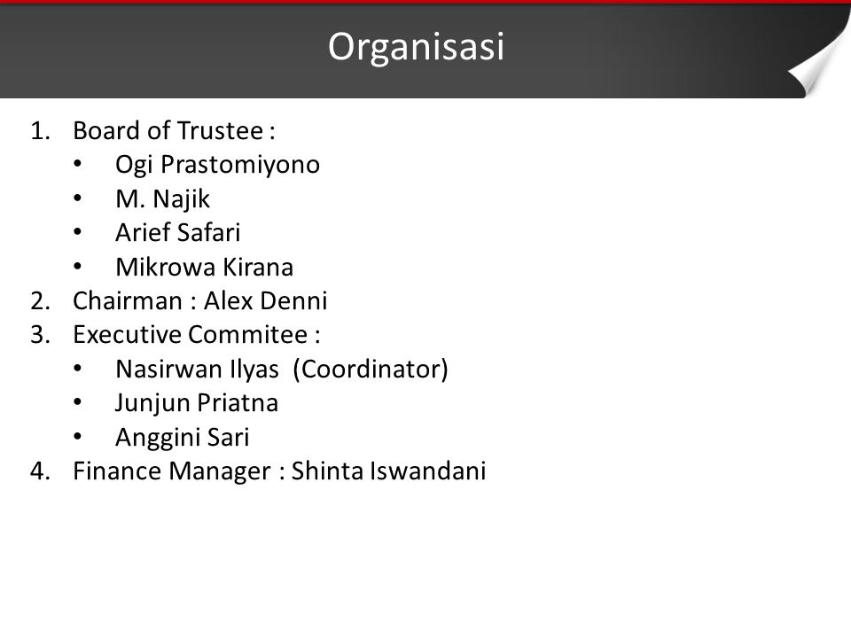 Organisasi 1.Board of Trustee : Ogi Prastomiyono M.