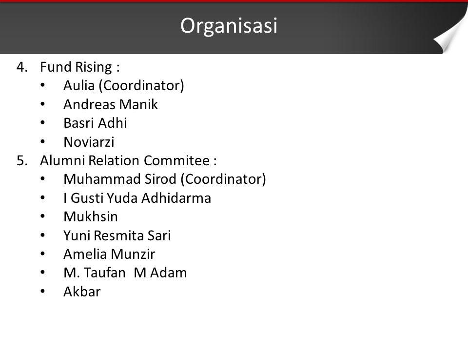 Organisasi 4.Fund Rising : Aulia (Coordinator) Andreas Manik Basri Adhi Noviarzi 5.Alumni Relation Commitee : Muhammad Sirod (Coordinator) I Gusti Yuda Adhidarma Mukhsin Yuni Resmita Sari Amelia Munzir M.