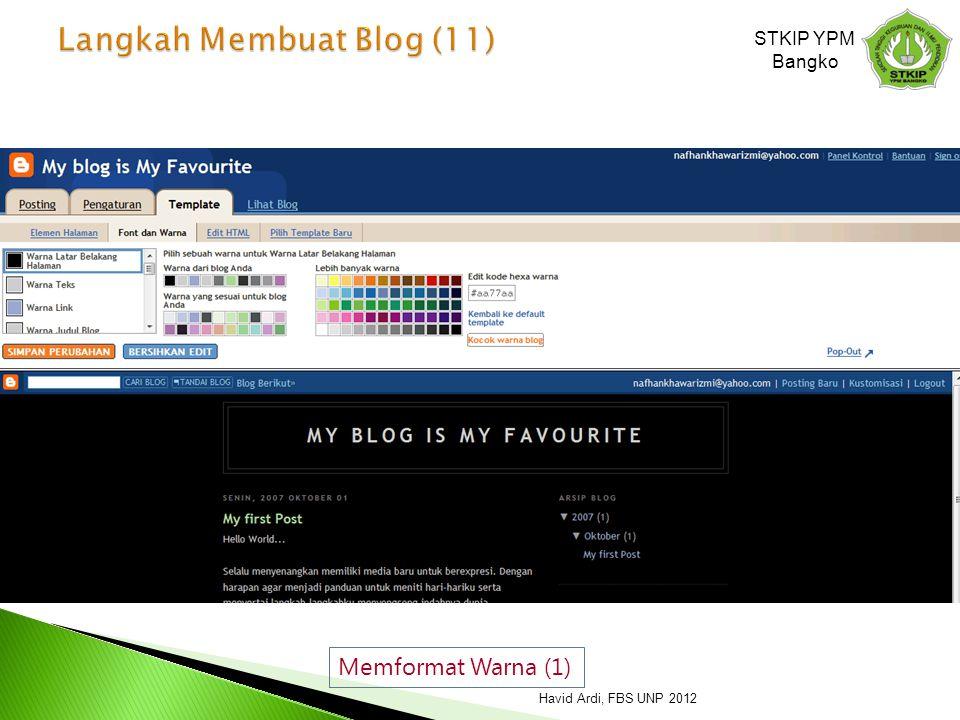 Memformat Warna (1) STKIP YPM Bangko Havid Ardi, FBS UNP 2012
