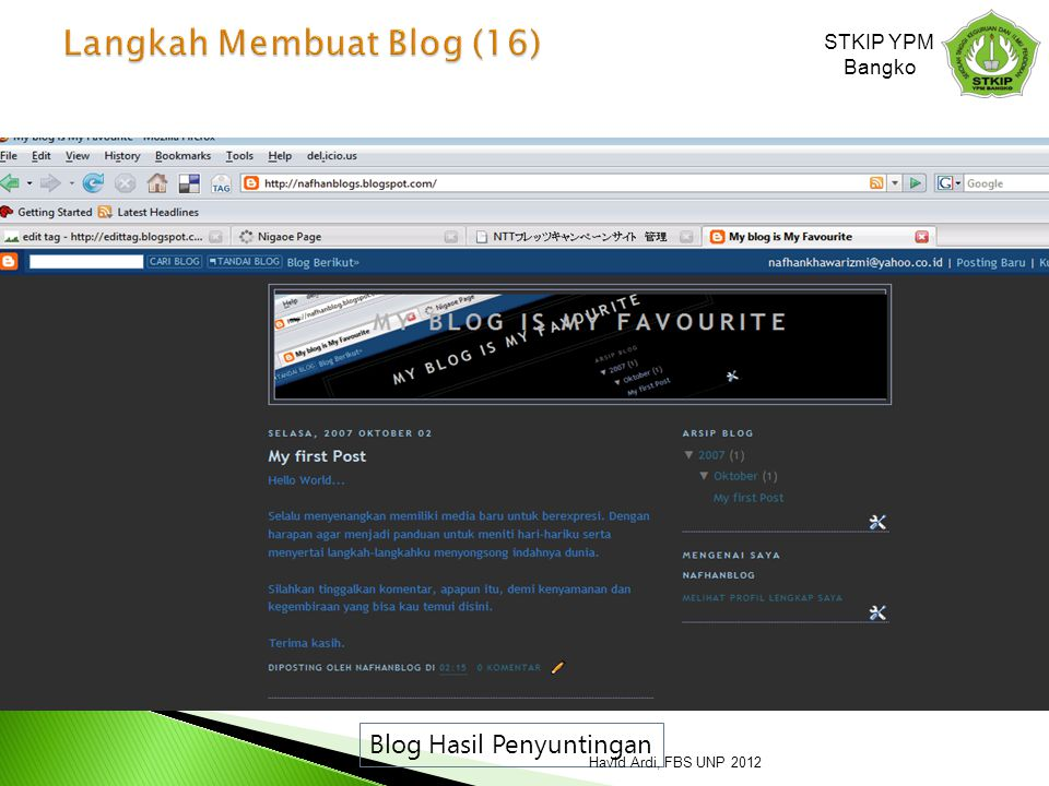 Blog Hasil Penyuntingan STKIP YPM Bangko Havid Ardi, FBS UNP 2012