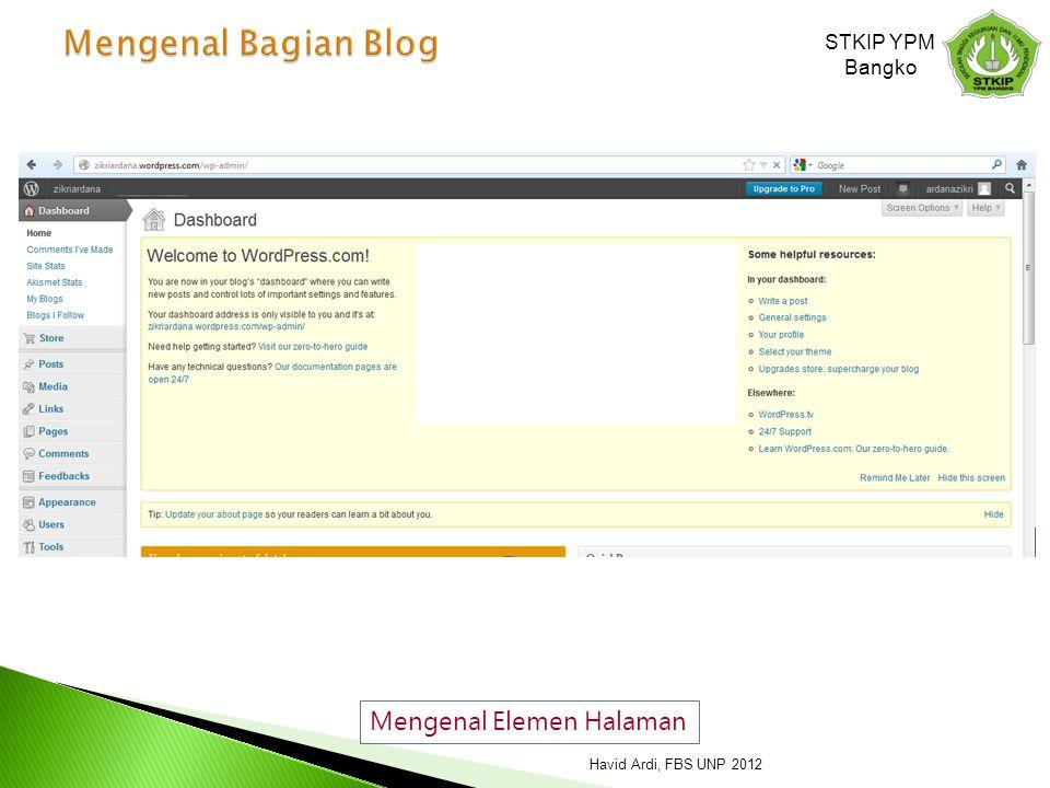 Mengenal Elemen Halaman STKIP YPM Bangko Havid Ardi, FBS UNP 2012