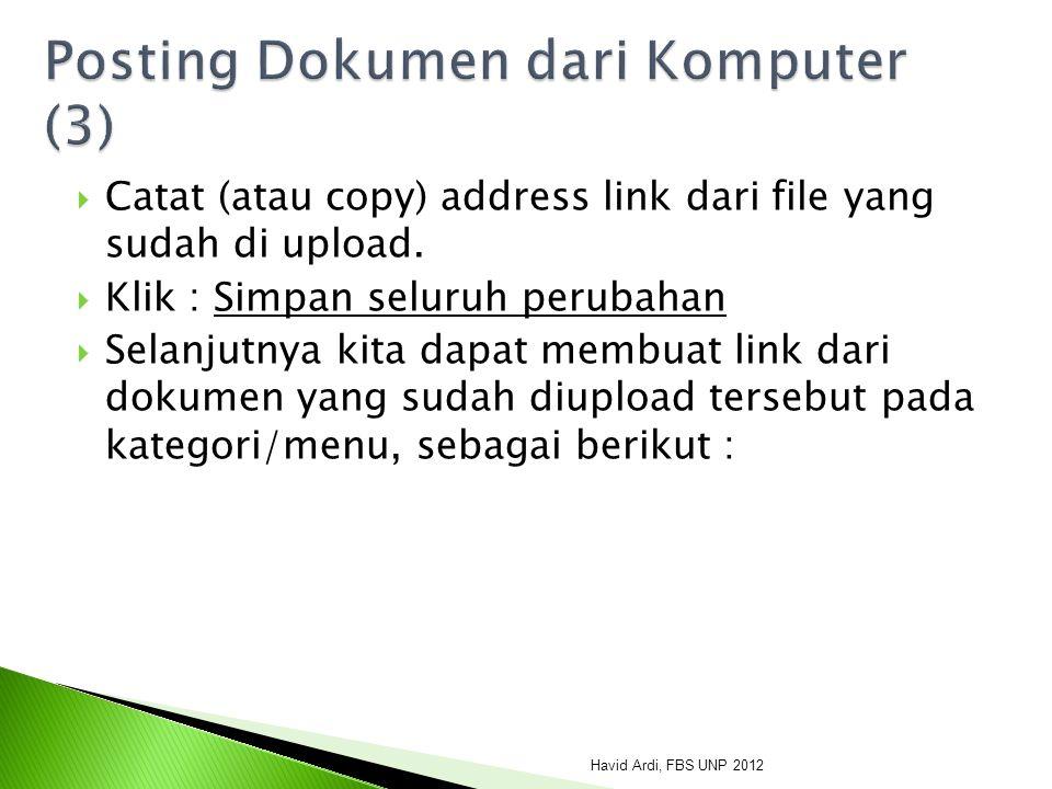  Catat (atau copy) address link dari file yang sudah di upload.