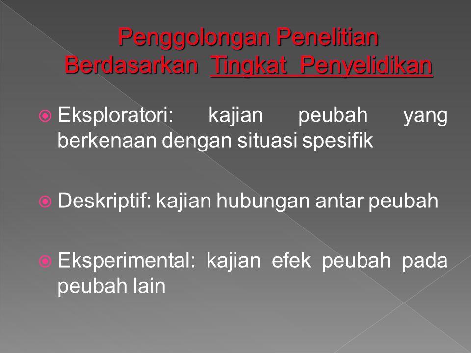  Eksploratori: kajian peubah yang berkenaan dengan situasi spesifik  Deskriptif: kajian hubungan antar peubah  Eksperimental: kajian efek peubah pada peubah lain