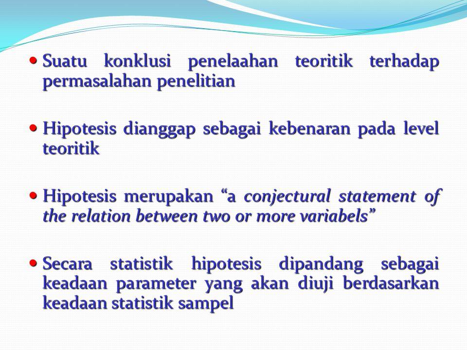 Suatu konklusi penelaahan teoritik terhadap permasalahan penelitian Suatu konklusi penelaahan teoritik terhadap permasalahan penelitian Hipotesis dian