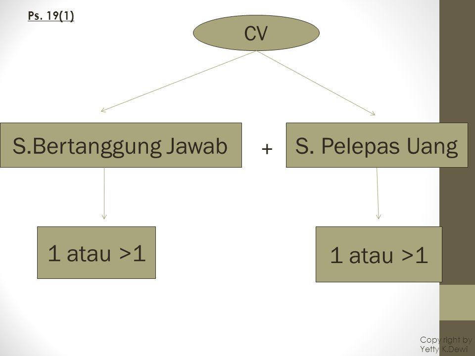 CV S.Bertanggung JawabS. Pelepas Uang + 1 atau >1 Ps. 19(1) Copy right by Yetty K.Dewi