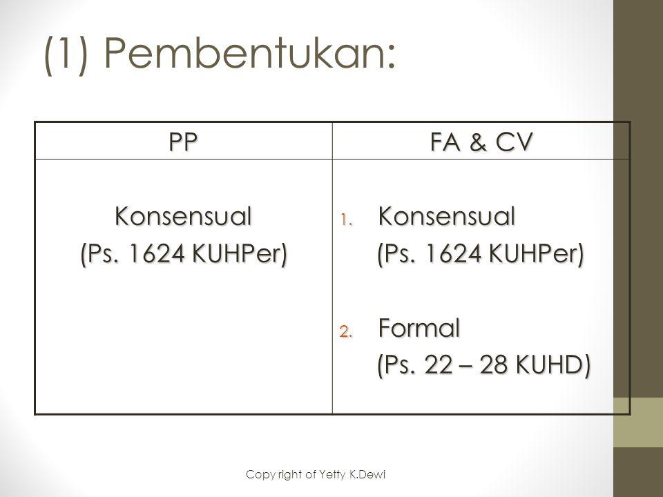 (1) Pembentukan: PP FA & CV Konsensual (Ps. 1624 KUHPer) 1. Konsensual (Ps. 1624 KUHPer) (Ps. 1624 KUHPer) 2. Formal (Ps. 22 – 28 KUHD) (Ps. 22 – 28 K