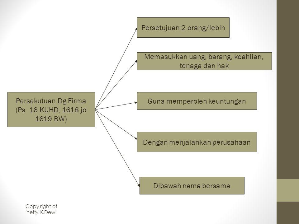 Persekutuan Dg Firma (Ps. 16 KUHD, 1618 jo 1619 BW) Persetujuan 2 orang/lebih Memasukkan uang, barang, keahlian, tenaga dan hak Guna memperoleh keuntu