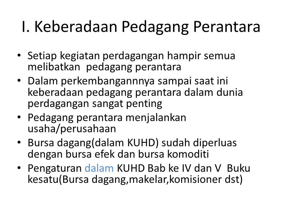 samb Pengaturan di luar KUHD : - UU Perbankan,- UU Perdagangan Komoditi Berjangka (No.32/1997),-UU Pasar Modal(No.8 /1995) Mengatur lembaga/ bursa dagang yg dikenaldeBursa Efek,Bursa Perdagangan Komoditi, Bank.