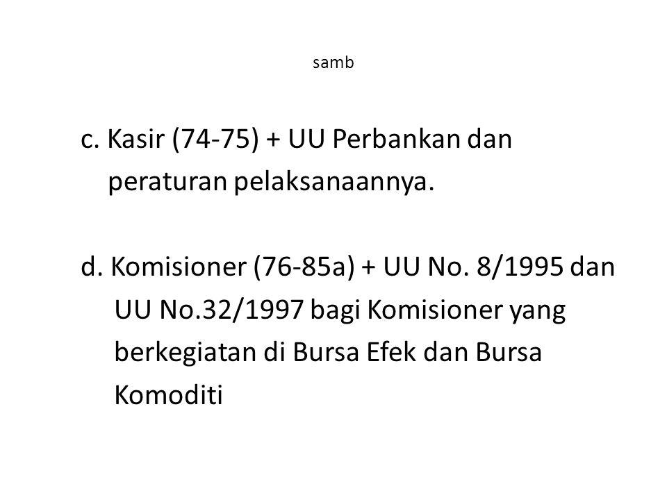 samb c.Kasir (74-75) + UU Perbankan dan peraturan pelaksanaannya.