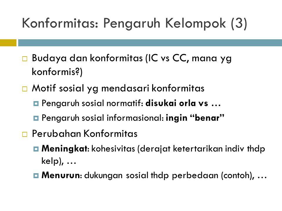 Konformitas: Pengaruh Kelompok (3)  Budaya dan konformitas (IC vs CC, mana yg konformis?)  Motif sosial yg mendasari konformitas  Pengaruh sosial n