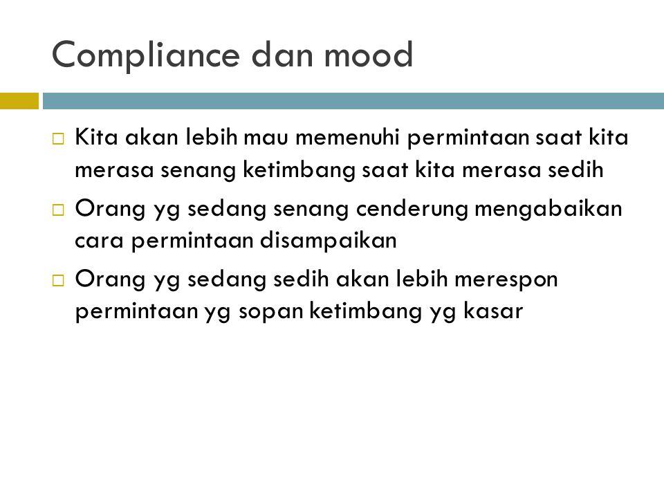 Compliance dan mood  Kita akan lebih mau memenuhi permintaan saat kita merasa senang ketimbang saat kita merasa sedih  Orang yg sedang senang cender
