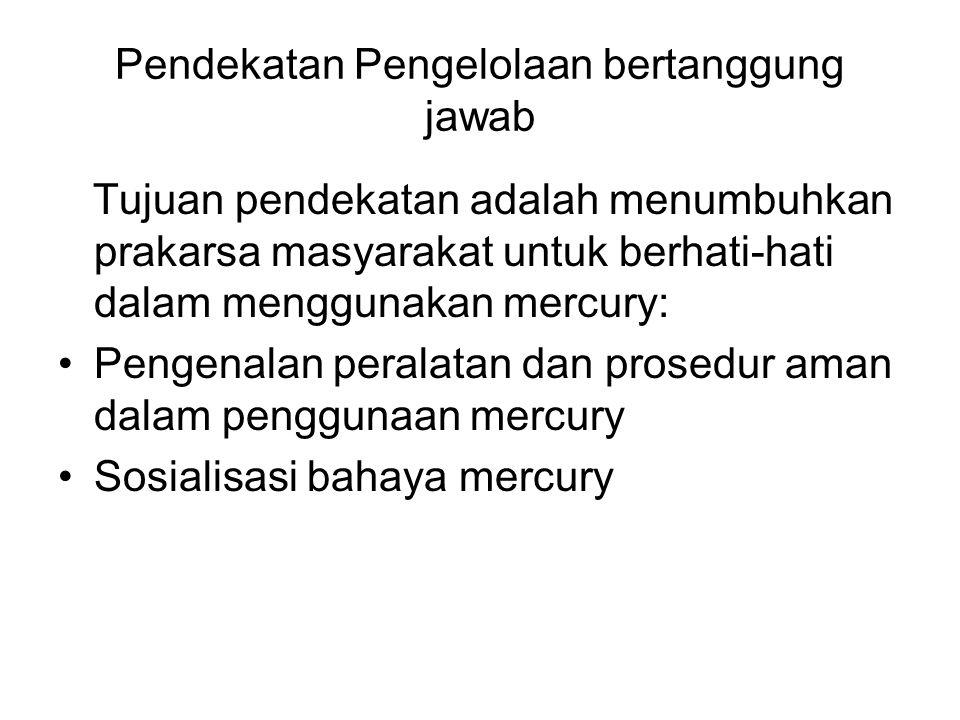 Kebijakan pengelolaan mercury  Pemerintah Provinsi melalui Perda nomor 6 tahun 2003 dan keputusan Gubernur Kalimantan tengah nomor 133 tahun 2004.