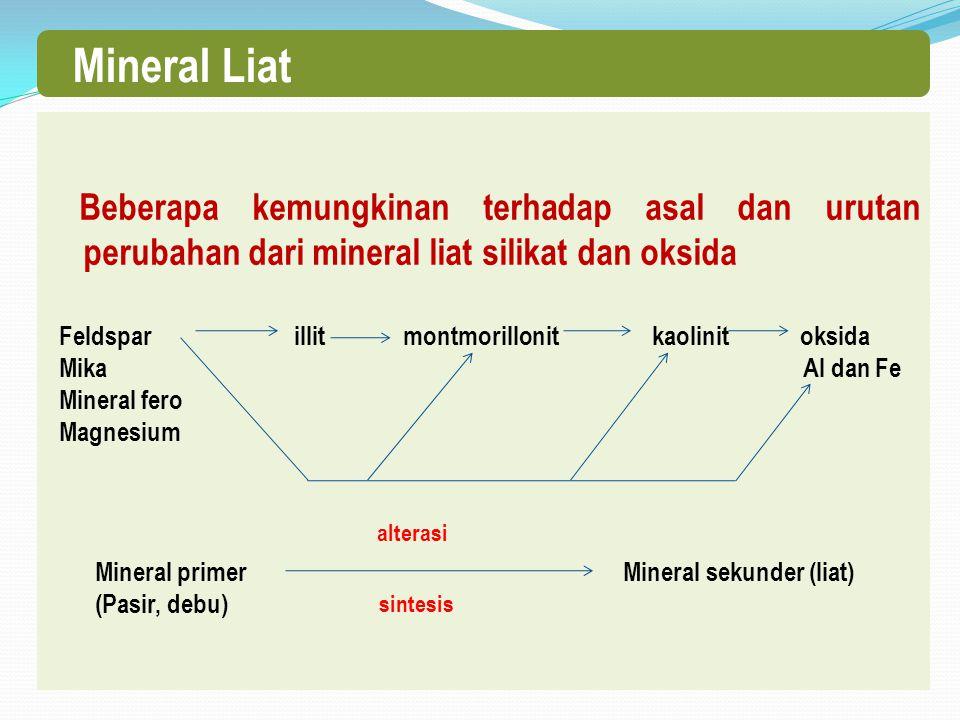 Beberapa kemungkinan terhadap asal dan urutan perubahan dari mineral liat silikat dan oksida Feldspar illit montmorillonit kaolinit oksida Mika Al dan Fe Mineral fero Magnesium Mineral primer Mineral sekunder (liat) (Pasir, debu) Mineral Liat alterasi sintesis