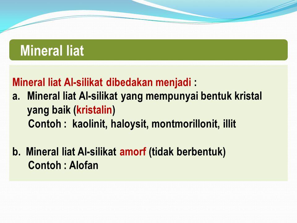 Mineral liat Mineral liat Al-silikat dibedakan menjadi : a.Mineral liat Al-silikat yang mempunyai bentuk kristal yang baik (kristalin) Contoh : kaolinit, haloysit, montmorillonit, illit b.