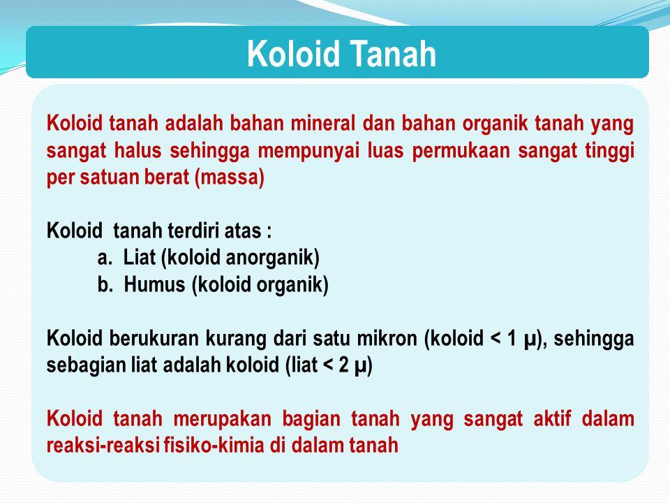 Koloid Tanah Koloid tanah adalah bahan mineral dan bahan organik tanah yang sangat halus sehingga mempunyai luas permukaan sangat tinggi per satuan berat (massa) Koloid tanah terdiri atas : a.