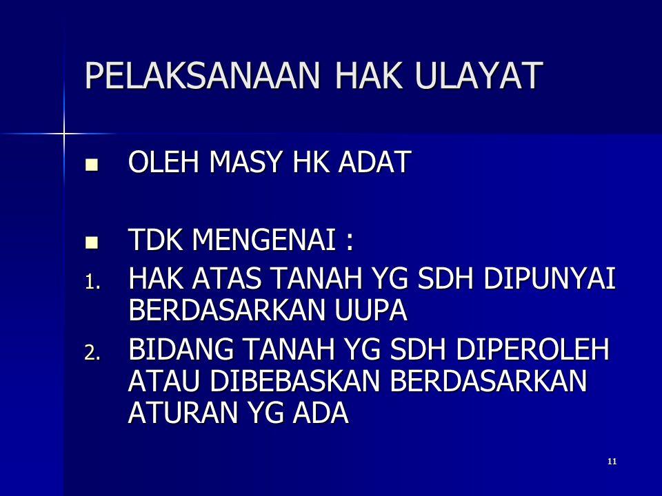 11 PELAKSANAAN HAK ULAYAT OLEH MASY HK ADAT OLEH MASY HK ADAT TDK MENGENAI : TDK MENGENAI : 1.