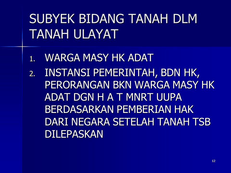 12 SUBYEK BIDANG TANAH DLM TANAH ULAYAT 1.WARGA MASY HK ADAT 2.