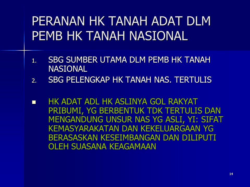 14 PERANAN HK TANAH ADAT DLM PEMB HK TANAH NASIONAL 1.