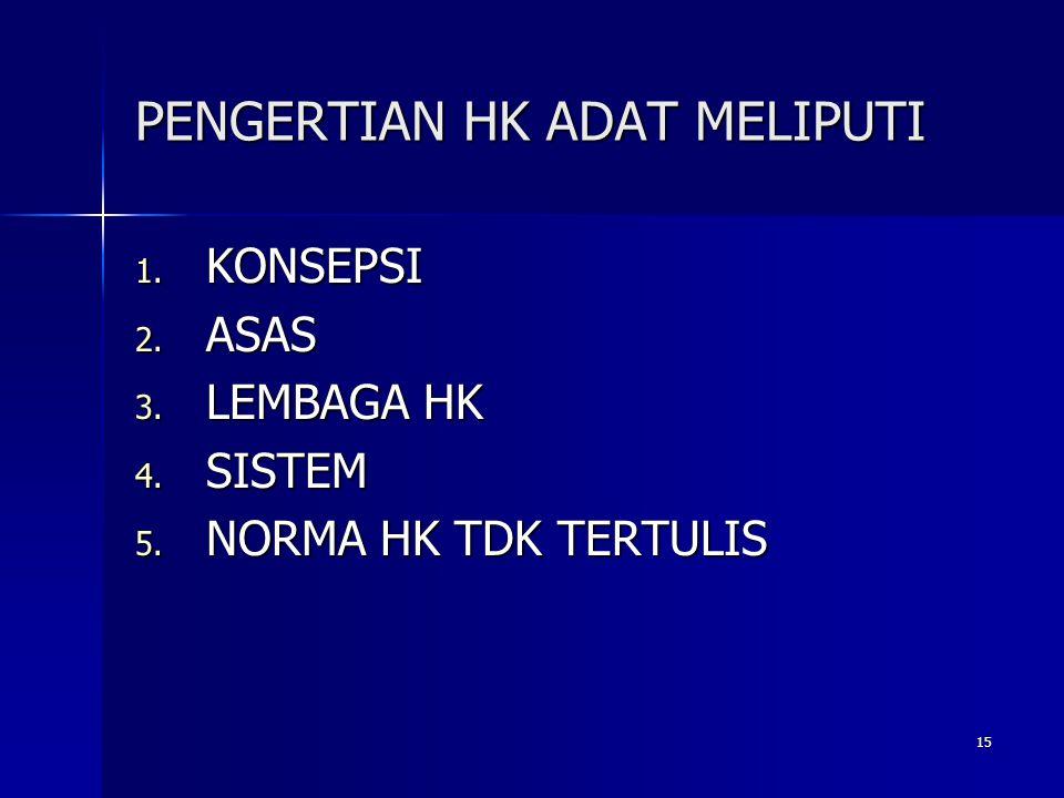 15 PENGERTIAN HK ADAT MELIPUTI 1. KONSEPSI 2. ASAS 3. LEMBAGA HK 4. SISTEM 5. NORMA HK TDK TERTULIS