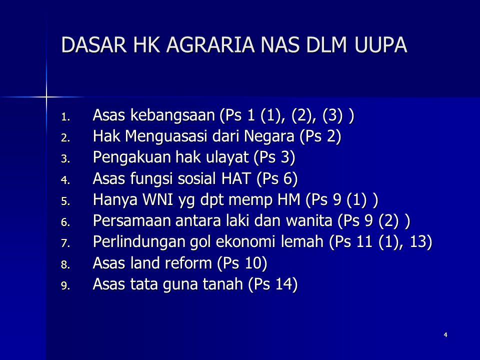 4 DASAR HK AGRARIA NAS DLM UUPA 1. Asas kebangsaan (Ps 1 (1), (2), (3) ) 2. Hak Menguasasi dari Negara (Ps 2) 3. Pengakuan hak ulayat (Ps 3) 4. Asas f