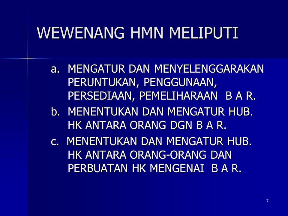 7 WEWENANG HMN MELIPUTI a.MENGATUR DAN MENYELENGGARAKAN PERUNTUKAN, PENGGUNAAN, PERSEDIAAN, PEMELIHARAAN B A R. b.MENENTUKAN DAN MENGATUR HUB. HK ANTA