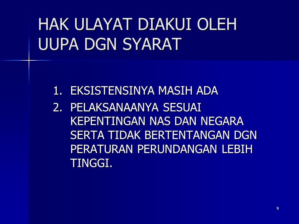 10 Eksistensi hak ulayat ( Permeneg agraria ka BPN No 5/1999) ADA, SYARATNYA : ADA, SYARATNYA : 1.