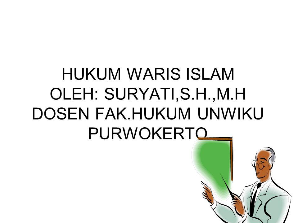Rukun Warisan Rukun warisan ada 3, yaitu: 1.Muwarrits atau pewaris Pewaris/muwarrits, yaitu orang yang meninggal dunia, yang harta pening-galannya berhak dimiliki oleh ahli warisnya (M Mawardi Muzamil, 1981: 18) Pasal 171 b KHI : Pewaris adalah orang yang pada saat meninggalnya beragama islam atau yang dinyatakan meninggal berdasarkan keputusan pengadilan, meninggalkan ahli waris dan harta peninggalan .