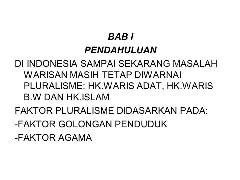 BAB I PENDAHULUAN DI INDONESIA SAMPAI SEKARANG MASALAH WARISAN MASIH TETAP DIWARNAI PLURALISME: HK.WARIS ADAT, HK.WARIS B.W DAN HK.ISLAM FAKTOR PLURAL