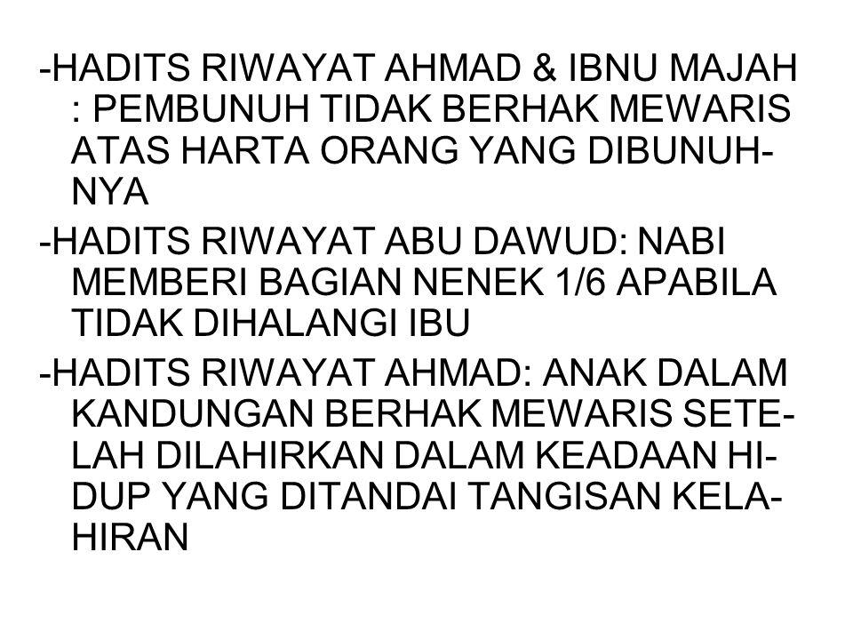 -HADITS RIWAYAT AHMAD & IBNU MAJAH : PEMBUNUH TIDAK BERHAK MEWARIS ATAS HARTA ORANG YANG DIBUNUH- NYA -HADITS RIWAYAT ABU DAWUD: NABI MEMBERI BAGIAN N